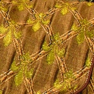 """Warm Golden Brown and Yellow Gold Fleur De Lis Wired Satin Ribbon 4"""" x 20 Yards"""
