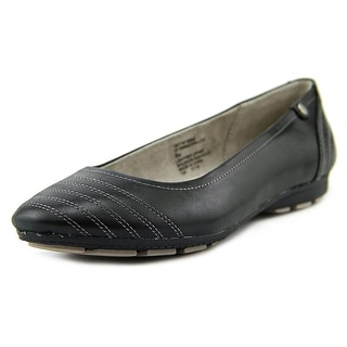White Mountain Deluxe Women Round Toe Leather Black Ballet Flats