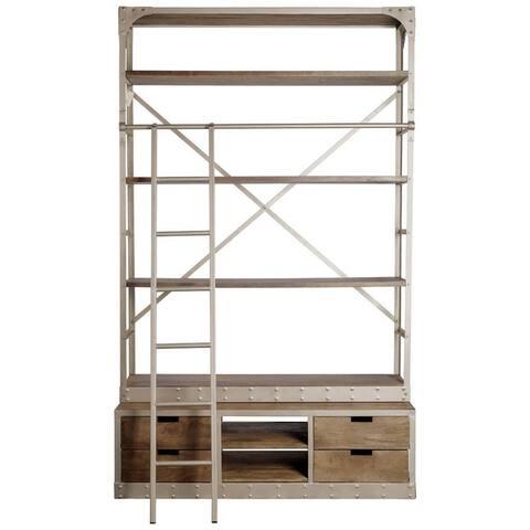 Mercana Brodie VI 57L x 20.5W x 94H Light Brown Wood Nickle Ladder Four Shelf Shelving Unit - 57.0L x 20.5W x 94.0H