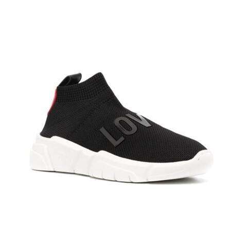 Love Moschino Women's Stretch Logo Fabric Running Sneakers Black