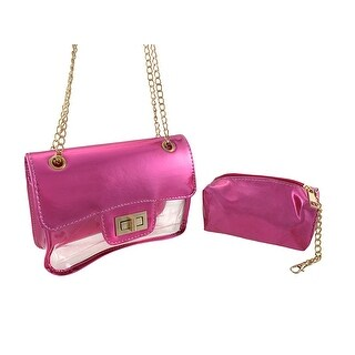 Patent and Transparent Vinyl Evening Bag with Cosmetic Bag