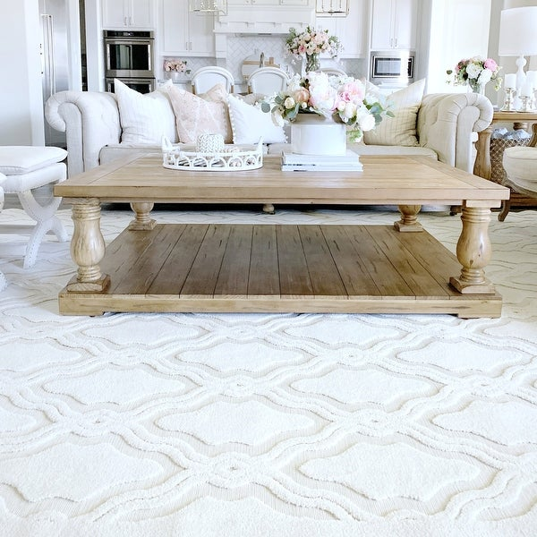 """My Texas House by Orian Indoor/Outdoor Cotton Blossom Natural Area Rug - 5'2"""" x 7'6"""". Opens flyout."""