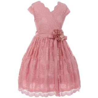 Flower Girl Dress Curly V-Neck Rose Embroidery AllOver Rose JKS 2066 (Option: 4)