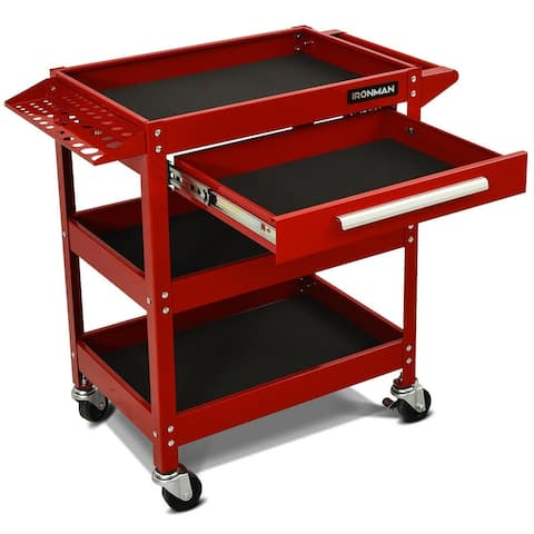 "Rolling Tool Cart Mechanic Cabinet Storage ToolBox Organizer with Drawer-Red - 21"" x 15"" x 3"" (L x W x H)"