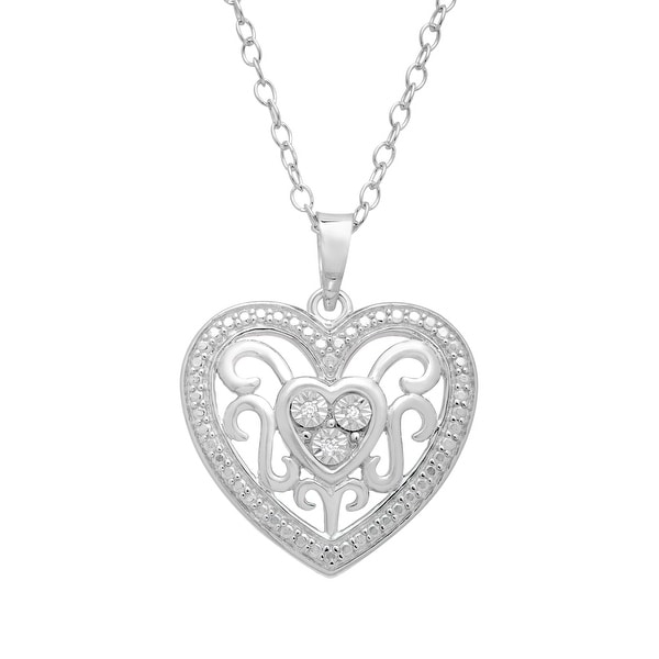 Filigree Heart Pendant with Diamonds in Sterling Silver