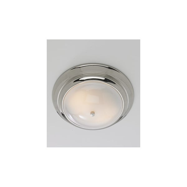 Norwell Lighting 5372 2 Light Flush Mount Ceiling Fixture from the Clayton Collection - brushed nickel with shiny opal glass