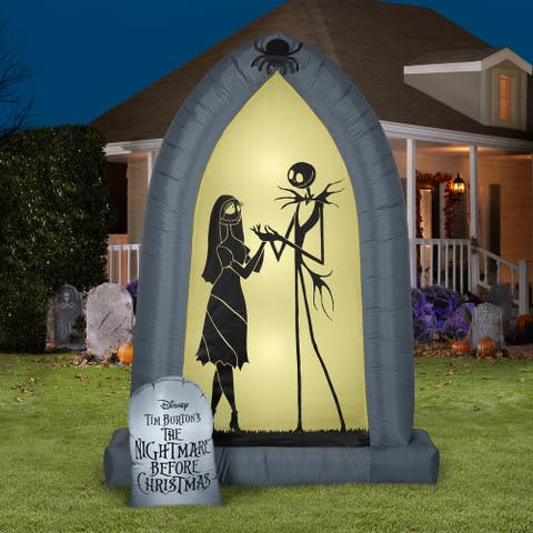 Gemmy Airblown Arch w/Jack and Sally Silhouettes, 7 ft Tall, Grey