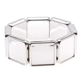 Silver Tone Plastic Stretch Bezel Collage Bracelet 20mm Squares - 7 Inches (1)