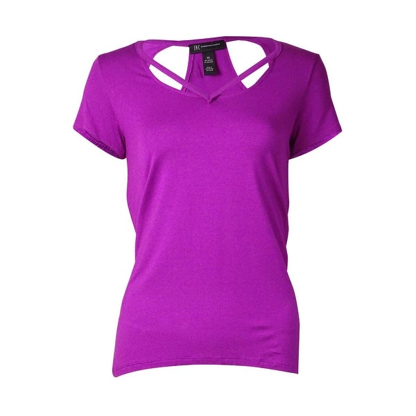 INC International Concepts Women's Racerback Cutout Tee - magenta flame