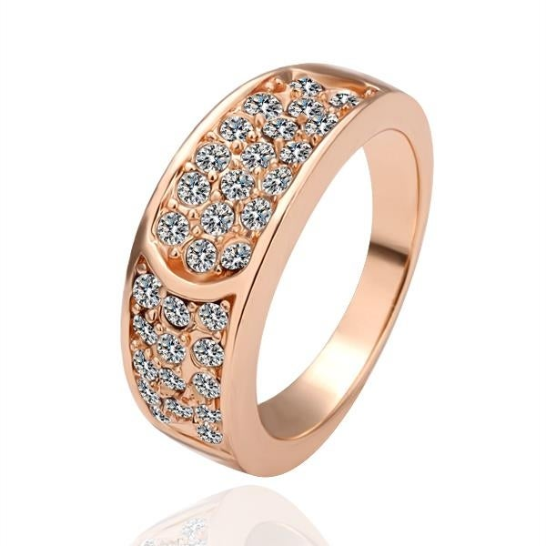 Rose Gold Plated Curved Cut Jewels Covering Ring