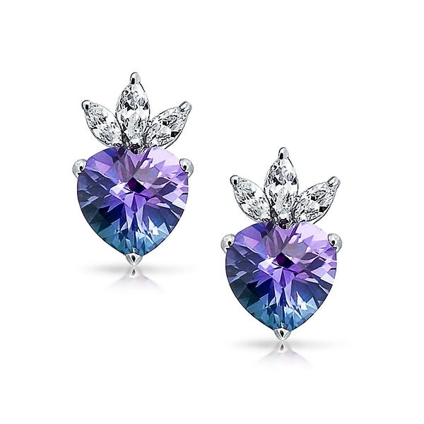 Jewelry Themed Earrings Sterling Silver CZ Heart Pendant and Earring Set