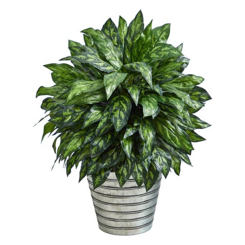 "34"" Silver King Artificial Plant in Decorative Tin Bucket - 12"""