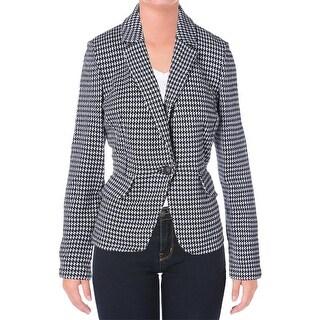 St John Womens Wool Blend Ribbon Check One-Button Blazer - 12