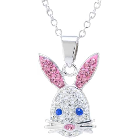 Fine Silver Plated Crystal Bunny Necklace