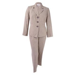 Le Suit Women's Plus Size Basketweave Pantsuit - Light Pebble