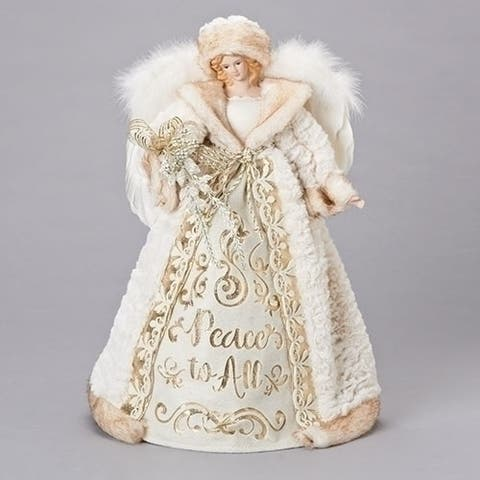 16 Gold and White Peace to All Christmas Angel Tree Topper