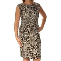 ANNE KLEIN Womens Black Animal Print Cap Sleeve Jewel Neck Below The Knee Sheath Dress Plus  Size: 0X