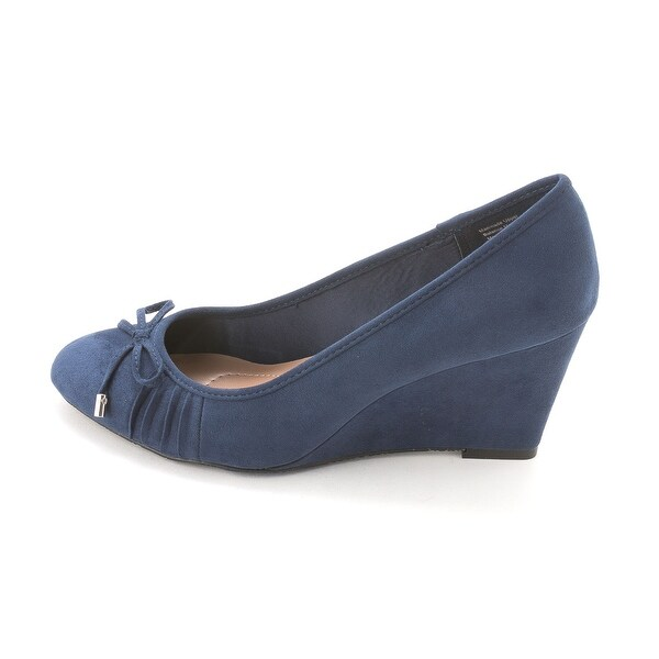 Style & Co. Womens FLORAH Suede Round Toe Wedge Pumps