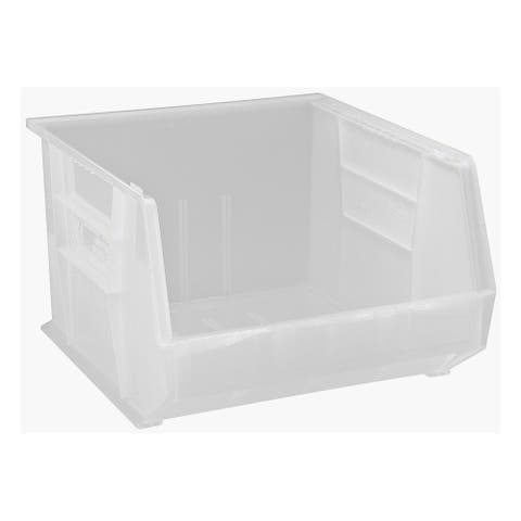 """Offex Plastic Storage Clear-View Ultra Hang and Stack Bin 18"""" x 16-1/2"""" x 11"""" - 3 Pack"""