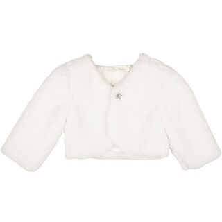 Designer Kidz Girls Ivory Button Long Sleeved Thalula Fur Shrug
