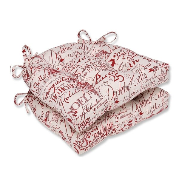 """Set of 2 Holiday Song Reversible Chair Cushions """"16"""