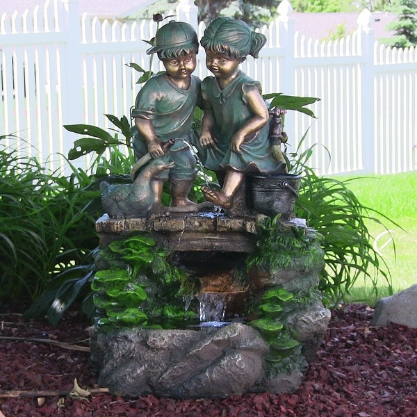 Sunnydaze Children Discovering Nature Outdoor Water Fountain with LED Light