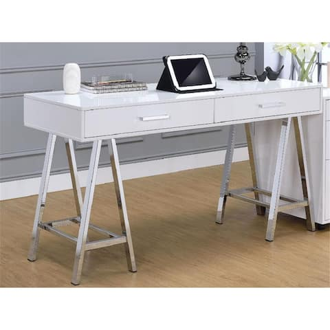 ACME Coleen Desk in White High Gloss & Chrome