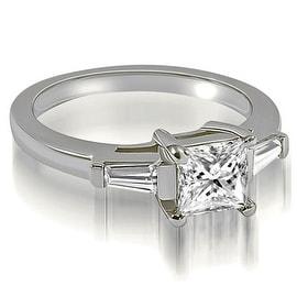 0.75 cttw. 14K White Gold Princess Baguette Three Stone Diamond Engagement Ring