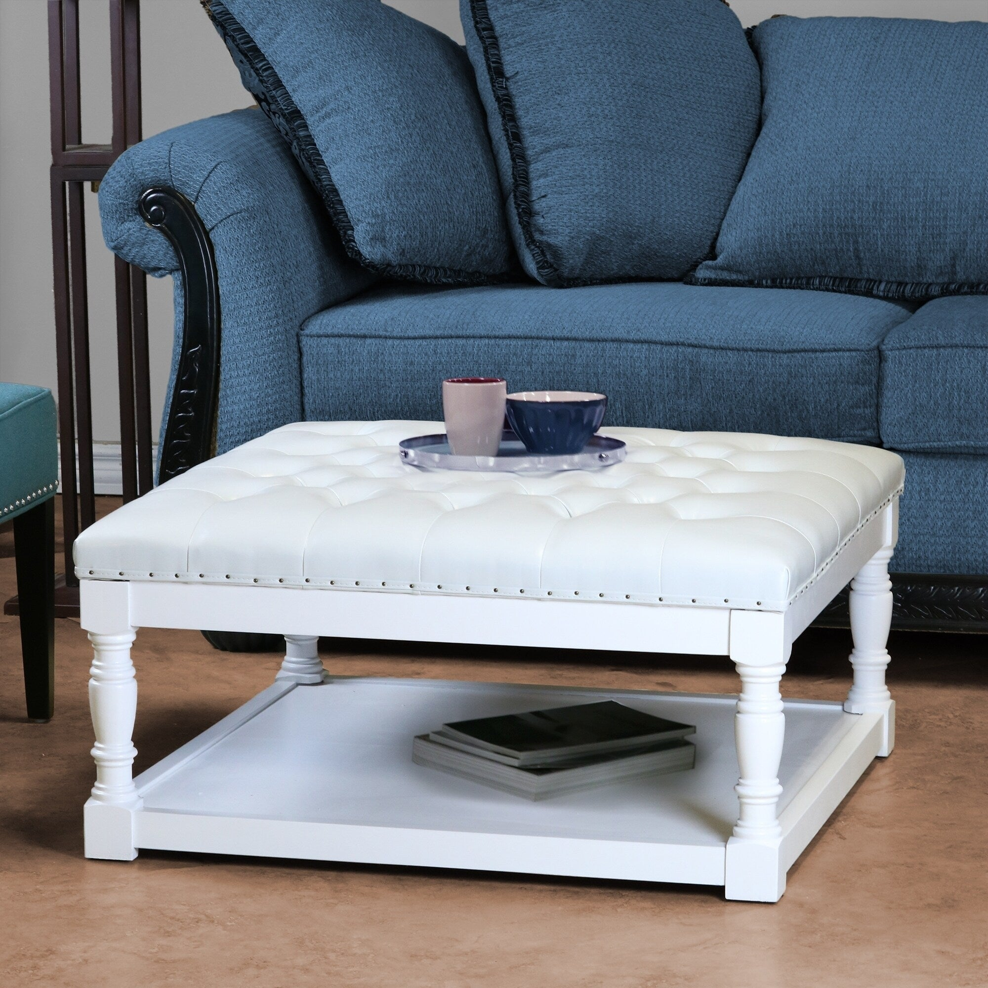 Cairona Tufted Pu Leather 34 Inch Shelved Ottoman Table More Colors Overstock 30562434 White