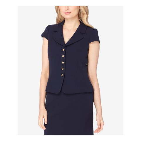TAHARI Womens Navy Five Button Cap Sleeve Wear to Work Top Size 14