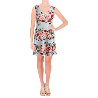 Jessica Simpson Womens Scuba Dress Floral Print V-Neck - 12