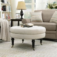 Belleze Large Ottoman Cushion Round Tufted Linen Bench w/ Caster, Beige