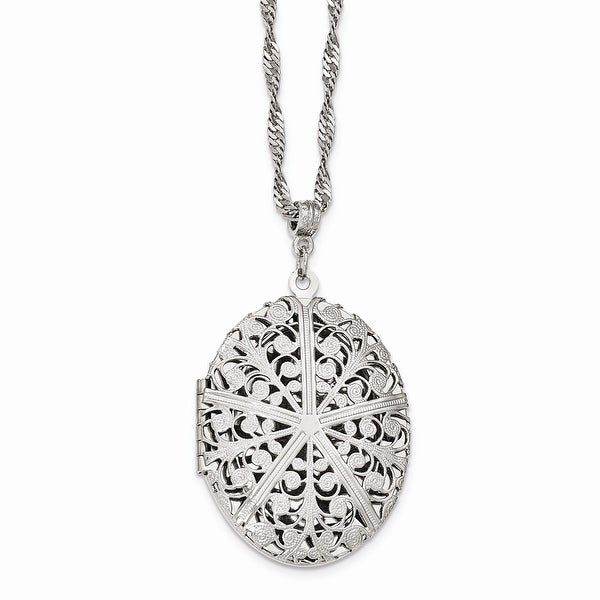 Silvertone Large Filigree Locket Necklace - 30in