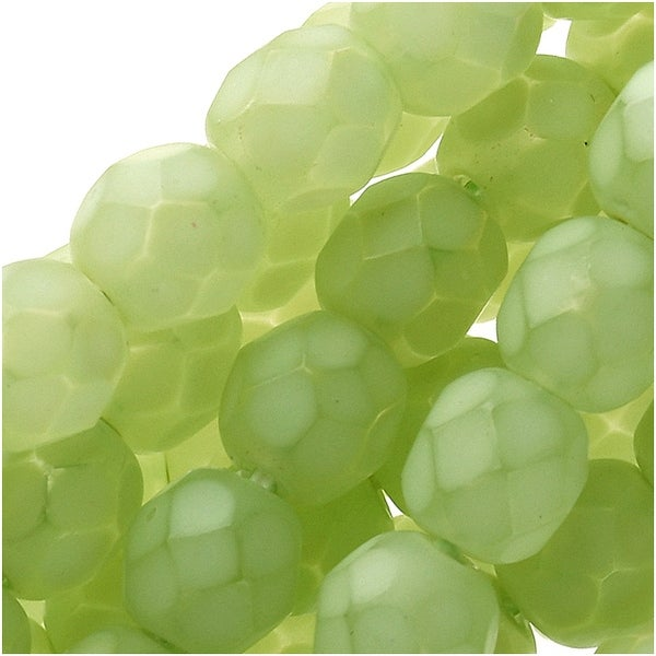 Czech Fire Polished Glass Beads 6mm Round - Matte Light Olive (25)