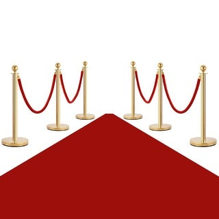 Costway 6Pcs Stanchion Posts Queue Pole Retractable 4 Velvet Ropes Crowd Control Barrier - GOLD