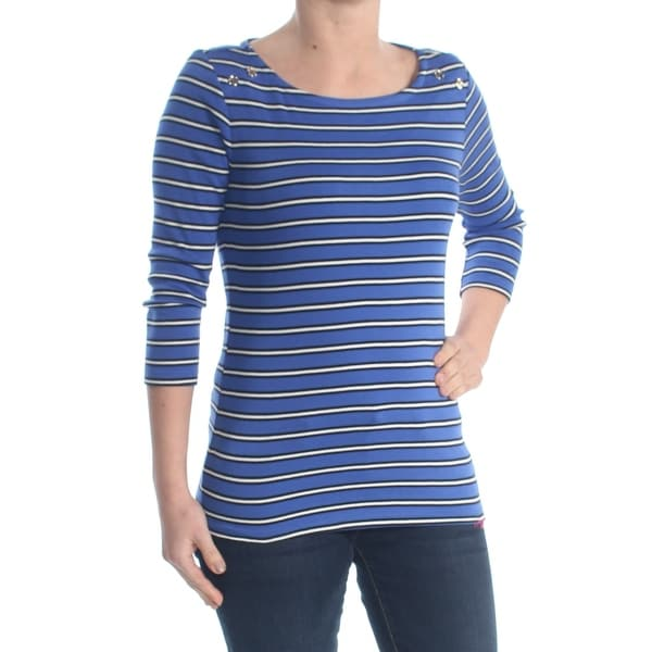 e1e62cd8e54 Shop TOMMY HILFIGER Womens Blue Striped Button Shoulder Long Sleeve Jewel  Neck Top Size: XL - Free Shipping On Orders Over $45 - Overstock - 28216096