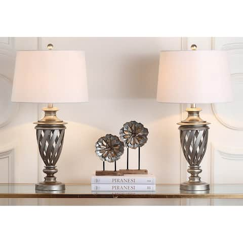 "Safavieh Lighting 29-inch Byron Urn Antiqued Silver Table Lamp (Set of 2) - 15""x15""x28.5"""