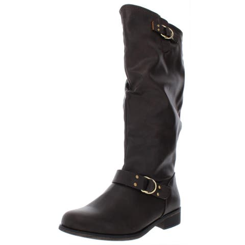 XOXO Womens Minkler Riding Boots Wide Calf Faux Leather