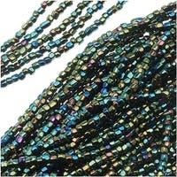 Czech Tri-Cut Seed Beads Size 12/0 - Opaque Iris Green (1 Strand/360 Beads)