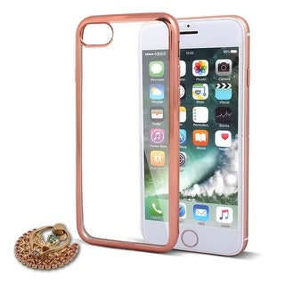 Silicone Protective Phone Case Rose Gold Tone w Ring Holder for iPhone 7