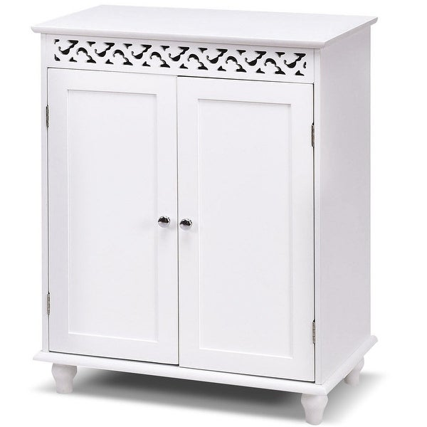 Gymax White Wooden 2 Door Bathroom Cabinet Storage Cupboard Shelves Free Standing