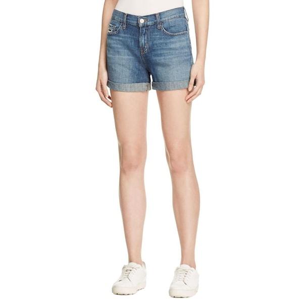 J Brand Womens Joey Denim Shorts Distressed Cuffed