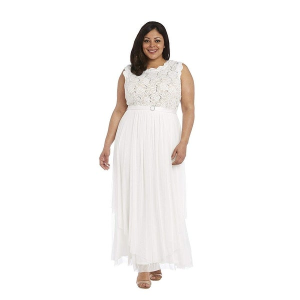 R & M Richards Sequined Lace Chiffon Gown. Opens flyout.
