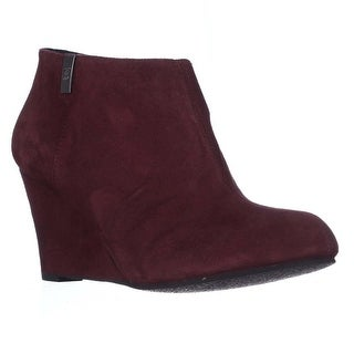 AK Anne Klein Trumble Wedge Ankle Booties - Wine Suede