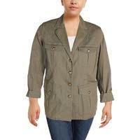 Lauren Ralph Lauren Womens Plus Braylin Military Jacket Long Sleeves Twill