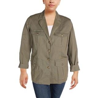 Lauren Ralph Lauren Womens Plus Braylin Military Jacket Long Sleeves Twill (3 options available)