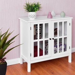 Costway Storage Buffet Cabinet Glass Door Sideboard Console Table Server Display White