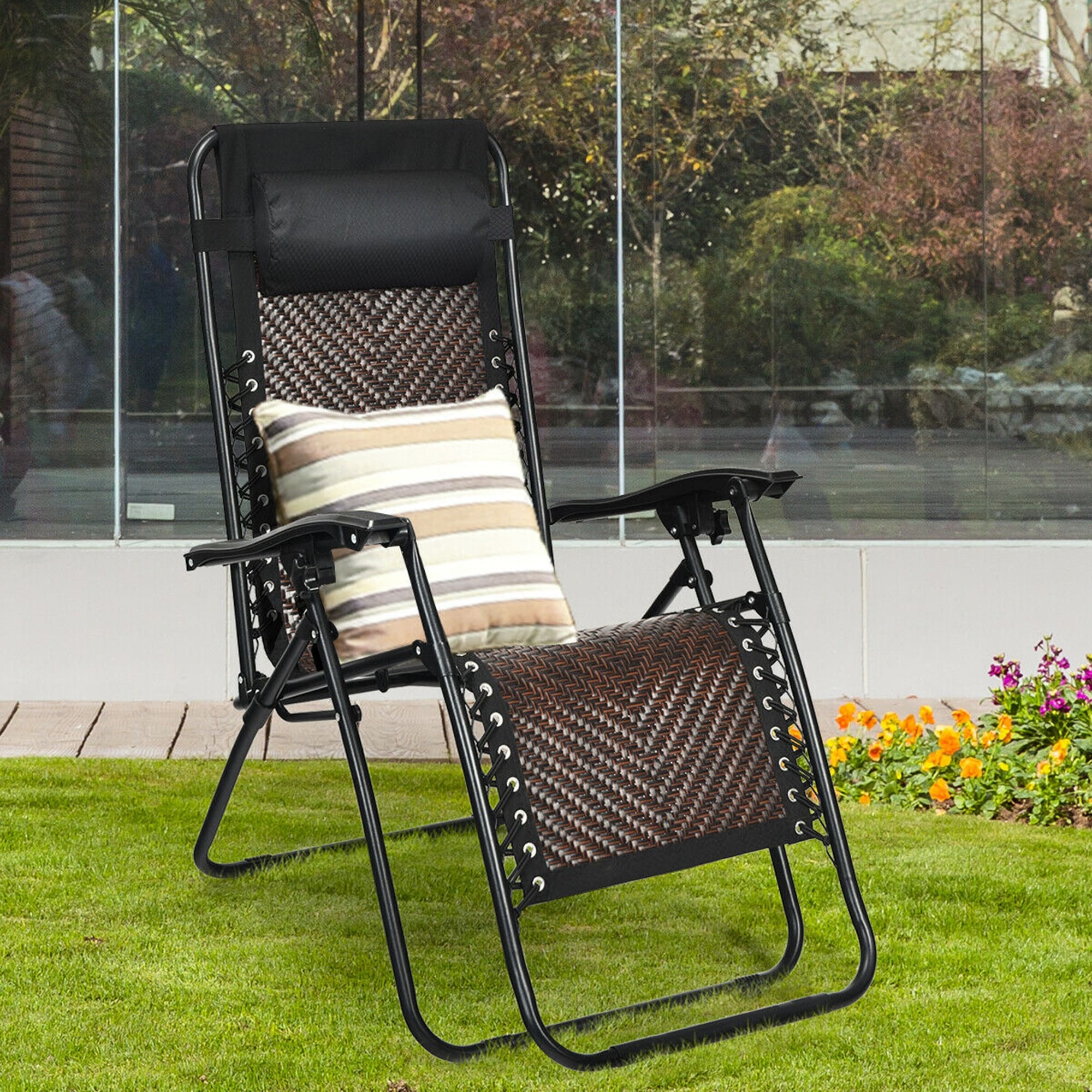 Gymax Wooden Chaise Lounge Chair Recliner Patio Outdoor W// Adjustable Backrest