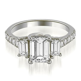 1.65 cttw. 14K White Gold Lucida Three-Stone Diamond Emerald Engagement Ring