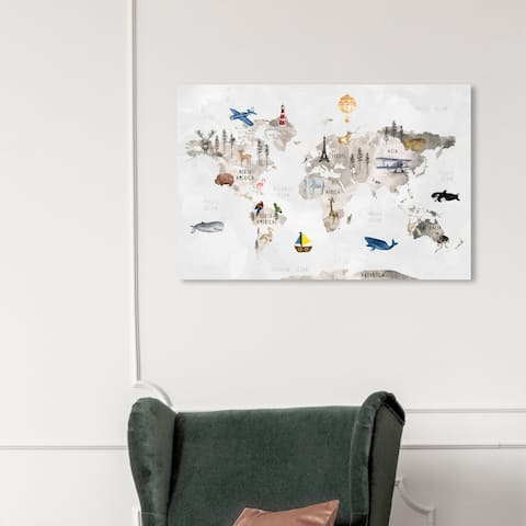 Olivias Easel Prints 'Around the Globe' Maps and Flags Gray Wall Art Canvas Print